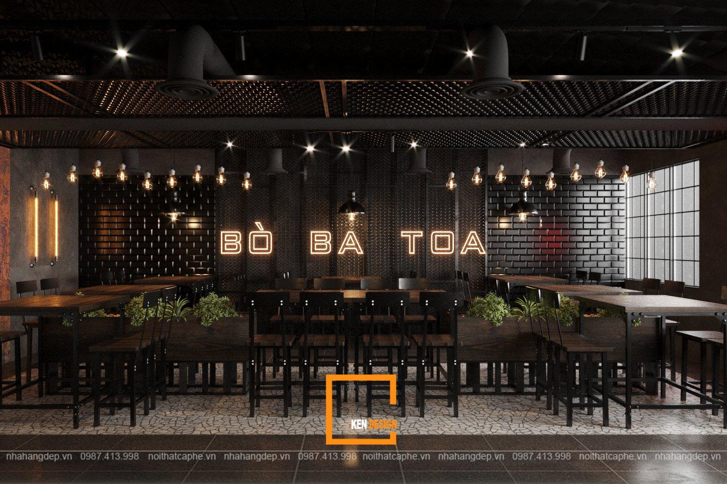 Thiết kế nhà hàng Lẩu bò Ba Toa 2 tầng tại Hà Nội